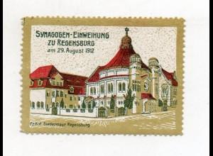 S1922/ Reklamemarke Regensburg Synagoge Einweihung 1912 Judaika