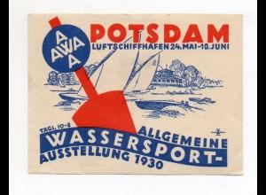 S1910/ Reklamemarke Potsdam Luftschiffhafen Wassersport-Ausstellung 1930