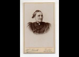 Y11049/ CDV Foto ältere Frau Atelier B.O. Schmidt , Zerbst ca.1900