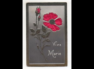 Y11036/ Vive Marie Reliefdruck AK Blume aus Seide ca.1905