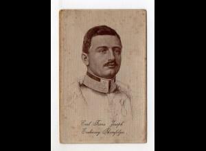 U4813/ Karl Franz Josef Erzherzog Seidenkarte in Seide gewebt ca.1912 selten!