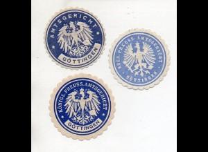 Y11351/ 3 x Siegelmarke Göttingen Amtsgericht ca.1910