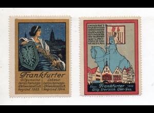Y11245/ 2 x Reklamemarke Frankfurter Allgem. Versicherung Litho ca.1912