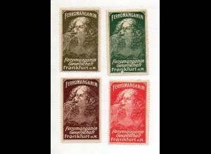 Y11247/ 4 x Reklamemarke Ferromanganin Frabkfurt M. ca.1912