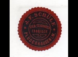 Y11356/ Siegelmarke Plüderhausen i. W. J. F. Schüle, Teigwaren-Fabrik ca.1910