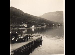 AK-0694/ Leikanger Sognefjord Norwegen NPG Stereofoto ca.1905