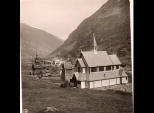 AK-0699/ Valder alte und neue Borgundkirche Norwegen NPG Stereofoto ca.1905