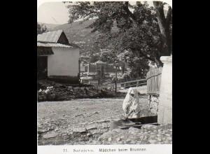 AK-0792/ Sarajevo Mädchen am Brunnen Bosnien Stereofoto 1909