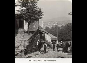 AK-0791/ Sarajevo Straßenscene Bosnien Stereofoto 1909