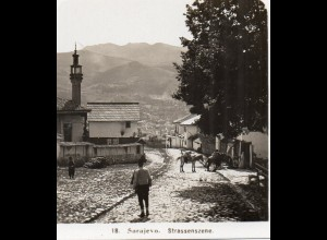 AK-0793/ Sarajevo Straßenscene Bosnien Stereofoto 1909