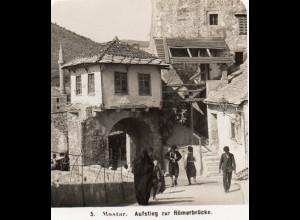 AK-0794/ Sarajevo Aufstieg zur Römerbrücke Bosnien Stereofoto 1909