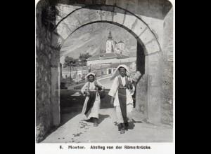 AK-0795/ Mostar Abstieg v. d. Römerbrücke Bosnien Stereofoto 1909