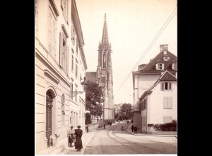 AK-0875/ Basel S. Elisabethkirche Stereofoto v Alois Beer ~ 1900