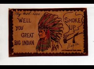 U6102/ Indianer Ak aus Leder 1906 gelaufen