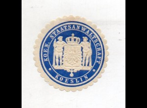 Y11947/ Siegelmarke Koeslin Köslin Koen. Staatsanwaltschaft ca.1910