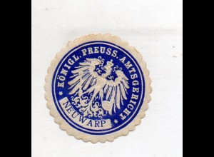 Y11948/ Siegelmarke Neuwarp Pommern Königl. Preuss. Amtsgericht ca.1910