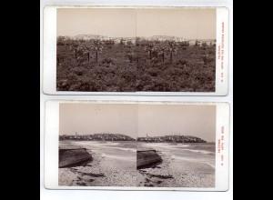 AK-1316/ 2 x Palästina Jaffa Stereofoto Alois Beer v ~ 1900