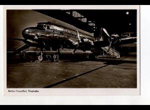 V1694/ Berlin Flughafen Tempelhof Flugzeug PAN AM Clipper Foto Ak ca.1952