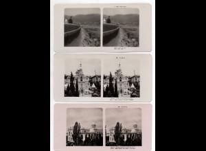 AK-1490/ 3 x Krim Jalta Rußland Stereofoto ca.1905