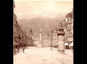 AK-1539/ Innsbruck Theresienstr. Litfaßsäule Stereofoto v Alois Beer ~ 1900