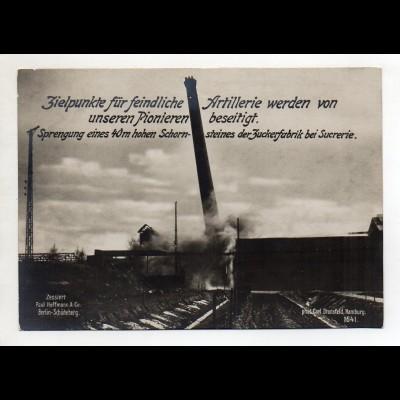 C3222/ Sprengung Schornstein Zuckerfabrik b. Sucrerie Frankreich WK1 AK 17x12 cm