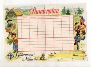 Y12437/ Alter Stundenplan Gütermann`s Nähseide