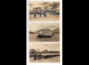 Y12441/ 3 x Foto AK PLÖN 3. Marine Unteroffizier-Lehrabteilung 1938 Soldaten