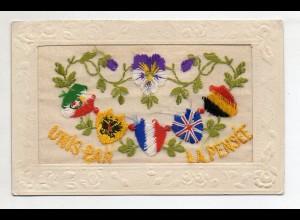 U6711/ Seide Seidenstickerei AK 1915 Frankreich
