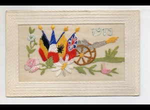 U6712/ Seide Seidenstickerei AK 1915 Frankreich 1. Weltkrieg