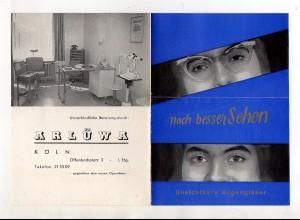 Y12439/ Prospekt ARLÜWA, Köln unsichtbarre Augengläser, Linsen ca.1960