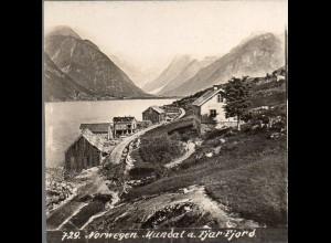 AK-2217/ Mundal a. Fjar-Fjord Norwegen Stereofoto ca.1905