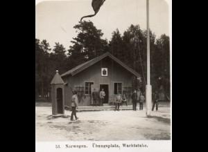 AK-2218/ Übungsplatz Wachtstube Norwegen Militär NPG Stereofoto ca.1910