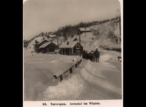 AK-2219/ Arendal im Winter Norwegen NPG Stereofoto ca.1910
