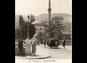 AK-2174/ Sarajevo Kaisermoschee Bosnien Foto Stereofoto 1909