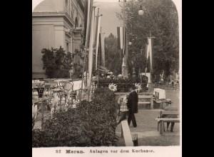 AK-2247/ Meran Vor dem Kurhause Südtirol Italien NPG Stereofoto ca.1905