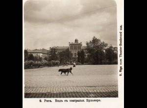 AK-2271/ Riga vom Theater-Boulevard aus Lettland NPG Stereofoto ca.1905