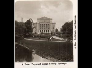 AK-2272/ Riga Stadttheater und Boulevard Lettland NPG Stereofoto ca.1905