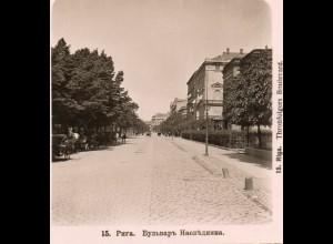 AK-2273/ Riga Thronfolgers Boulevard Lettland NPG Stereofoto ca.1905