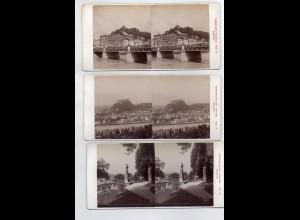 AK-2312/ 3 x Salzburg Stereofoto v Alois Beer ~ 1900