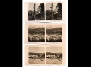 AK-2303/ 3 x Riesengebirge Krummhübel NPG Stereofoto ca.1910