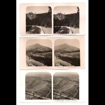 AK-2305/ 3 x Riesengebirge Krummhübel NPG Stereofoto ca.1910