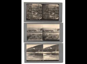 AK-2300/ 3 x Riesengebirge Schles. Baude, Koppenteich Stereofoto ca.1905