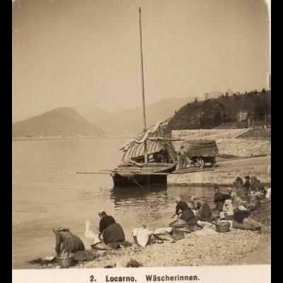 AK-2306/ Locarno Wäscherinnen Lago Maggiore Italien NPG Stereofoto ca.1910