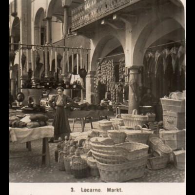 AK-2307/ Locarno Markt Lago Maggiore Italien NPG Stereofoto ca.1910