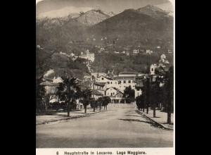 AK-2308/ Locarno Hauptstr. Lago Maggiore Italien NPG Stereofoto ca.1910