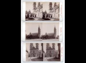AK-2315/ 3 x Basel Kathedrale Schweiz Stereofoto v Alois Beer ~ 1900