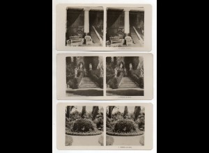 AK-2321/ 3 x Corfu Korfu Achilleion Griechenland NPG Stereofoto ca.1905