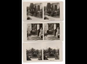 AK-2310/ 3 x Corfu Korfu Achilleion Griechenland NPG Stereofoto ca.1905