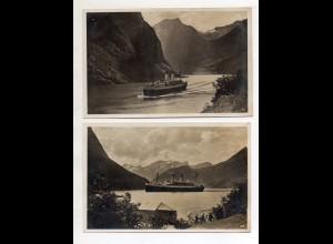 Y13132/ 2 x Foto AK Dampfer Monte Olivia in Norwegen ca.1935