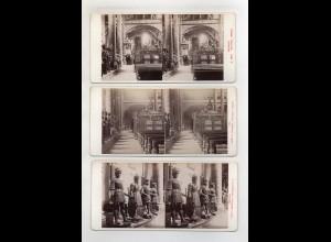 AK-2360/ 3 x Innsbruck Hofkirche Tirol Stereofoto v Alois Beer ~ 1900